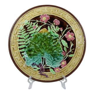 Choisy-Le-Roi Majolica Greek Key & Fern Plate