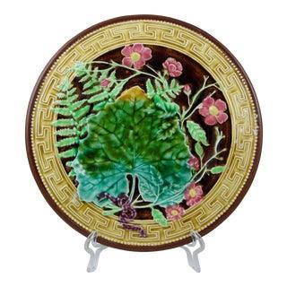 Choisy-Le-Roi Majolica Greek Key & Fern Plate