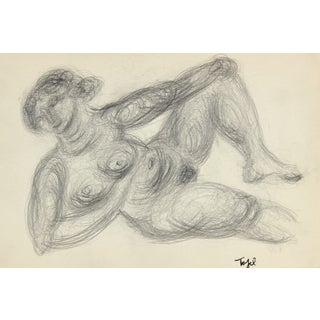 Reclining Expressionist Figure in Graphite