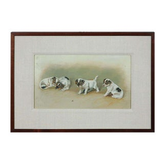 """Jack Russell Puppies at Rest and Play"" Oil Painting on Canvas"