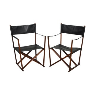 Professor Mogens Koch Interna Pair of Mid Century Modern Folding Black Leather Safari Chairs