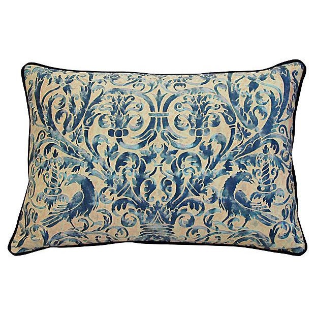 Custom Designer Italian Fortuny Uccelli Feather/Down Pillows - Pair - Image 2 of 10