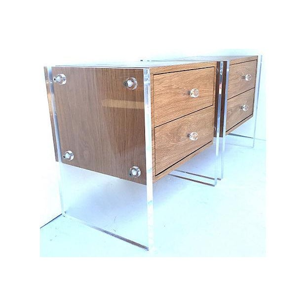 Mid-Century Floating Lucite Nightstands - Pair - Image 6 of 6