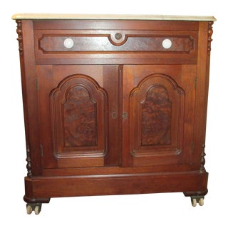 Victorian Marble Top Walnut Commode