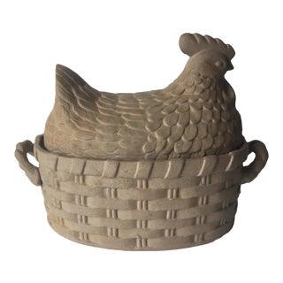 French Terra Cotta 'Hen & Basket' Casserole Dish