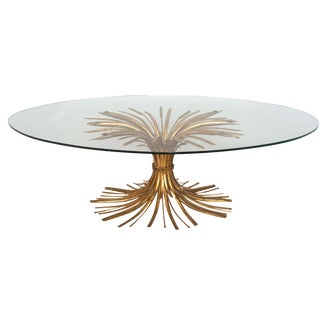 Gilded Sheaf of Wheat Oval Glass Top Coffee Table