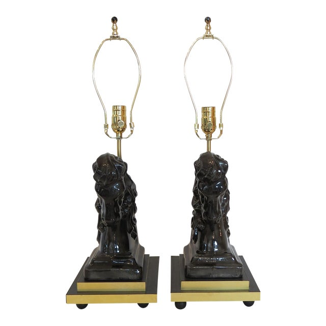 Mid- Century Ceramic and Brass Horsehead Lamps - A Pair - Image 1 of 7