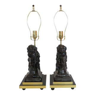 Mid- Century Ceramic and Brass Horsehead Lamps - A Pair