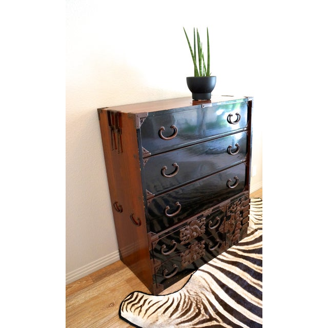 Vintage Black Lacquered Tansu Chest - Image 6 of 10