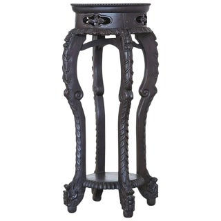 Chinese 19th Century Carved Round Hardwood Stand with Marble Inset