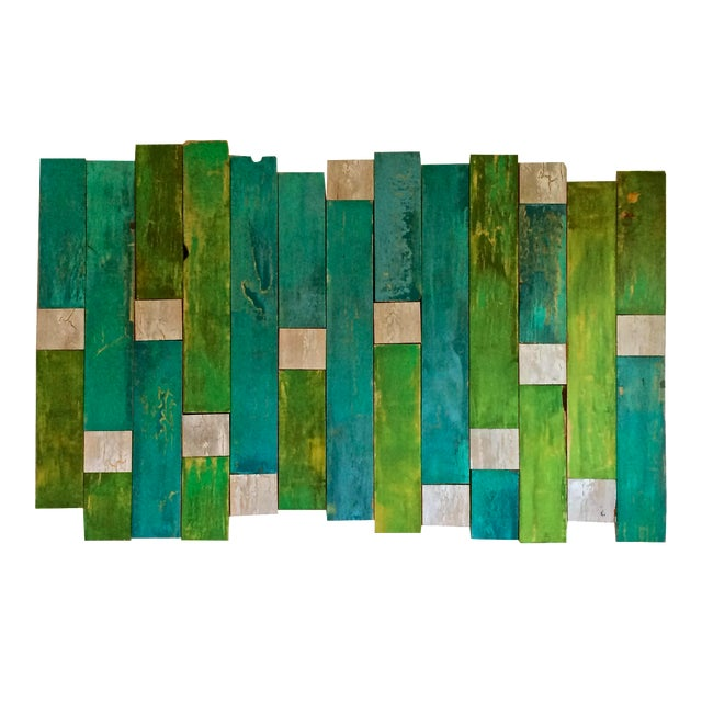 Green & Blue Sculptural Painting - Image 1 of 3