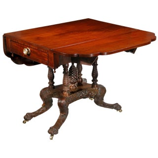 Carved Mahogany Classical Drop-leaf Table