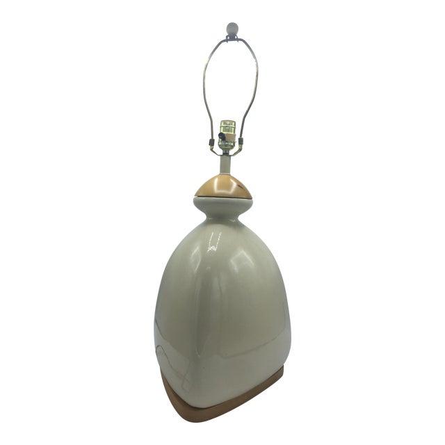 Ceramic & Wood Triangular Lamp - Image 1 of 7