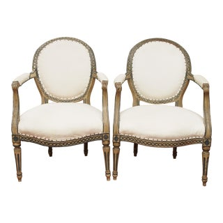 PAIR OF LOUIS XVI PAINTED FAUTEUILS
