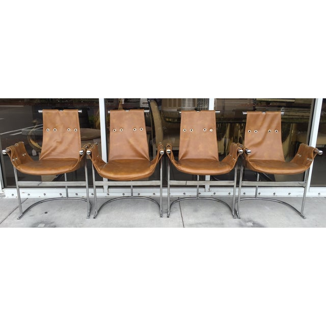 1970's Chrome and Faux Leather Chairs- Set of Four - Image 2 of 7