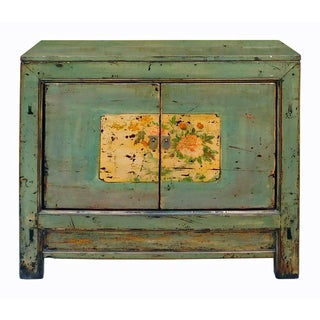 Chinese Floral Cabinet in Crackle Blue-Gray