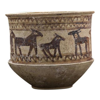 Luristan Cylindrical Pottery Bowl Painted With a Frieze of Animals