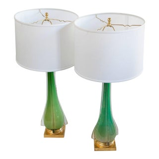 Vintage Murano Glass Table Lamps - A Pair