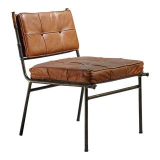 Rare Mathieu Matégot Chair with Brass Frame and Leather Seat and Back, 1950s