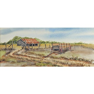 Old Texas Ranch Watercolor Painting