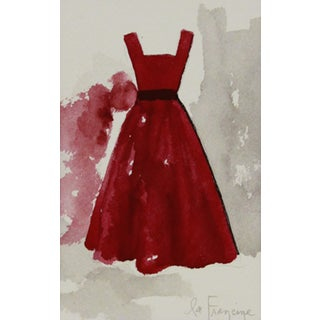 Red Party Frock Watercolor Painting