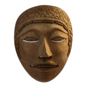 Vintage Carved Wooden Mask on Lucite Stand