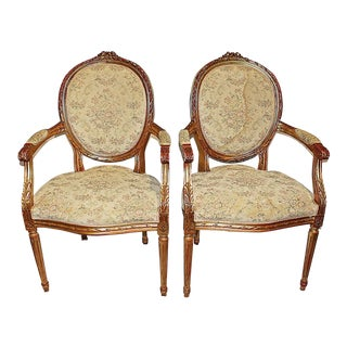 French Louis XVI-style Fauteiuls Armchairs