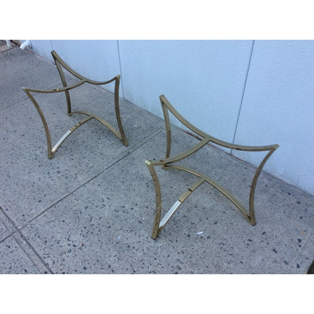 1970's Modern Demi Lune Brass Side Tables - Image 10 of 11