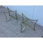 Image of 1970's Modern Demi Lune Brass Side Tables