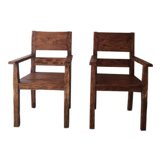 African Style Carved Wooden Chairs - A Pair