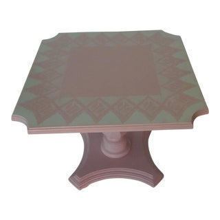 Vintage Pink Lace Stenciled Pedestal Table