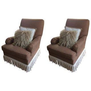 Hickory Chair Taupe Club Chairs - A Pair