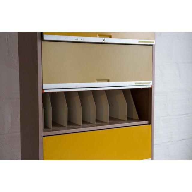 Vintage Orange & Yellow Steel Tab Office Cabinets - Image 7 of 7