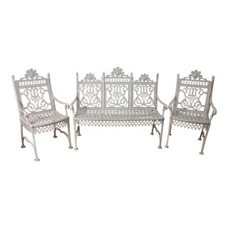 White Painted Cast Iron Garden Suite- Set of 3