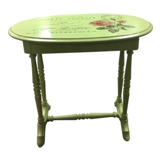 Hand Painted Green Side Table