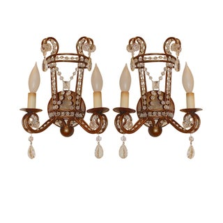 Gilt French Iron & Crystal Wall Sconces - A Pair
