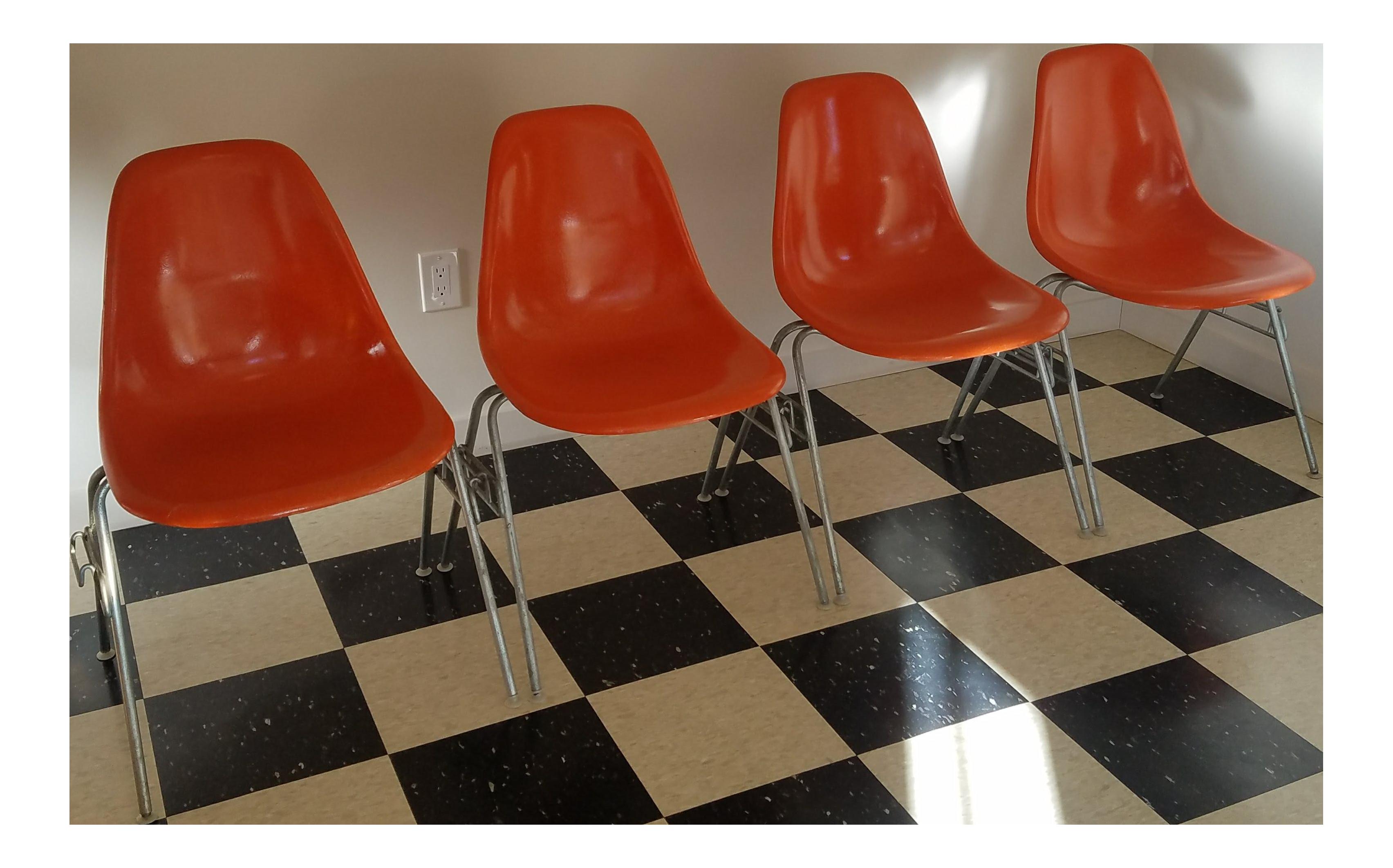 Orange Fiberglass Eames Chairs   Set Of 4