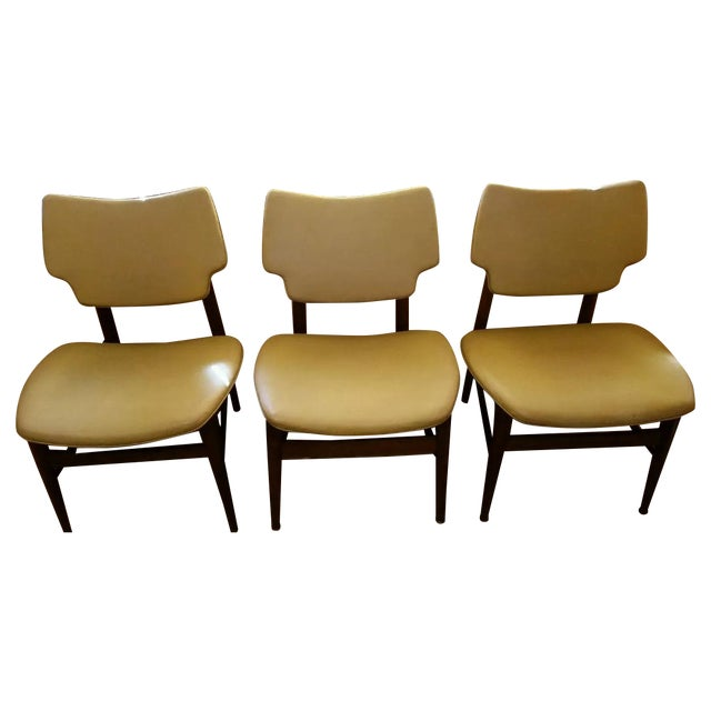 Thonet Mid-Century Yellow Vinyl Chairs - Set of 3 - Image 1 of 11