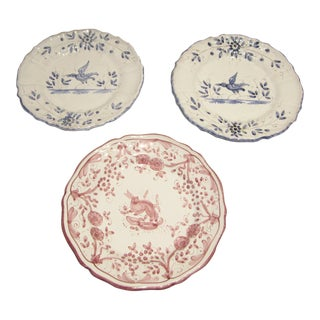 Pink & Blue Wall Plates - Set of 3