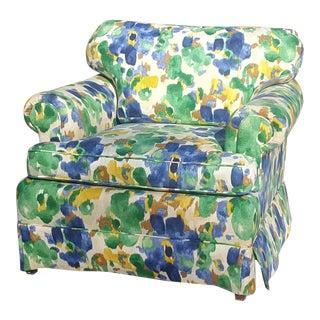 Custom Upholstered Robert Allen Linen Fabric Watercolor Floral Club Chair