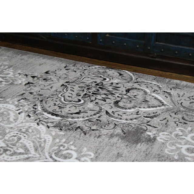 "Damask Gray & White Rug- 6'7"" x 9'7"" - Image 6 of 7"