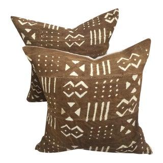 African Mali Mud Cloth Pillows - A Pair