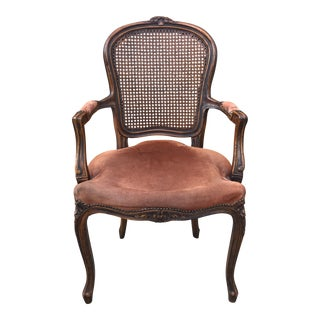 Antique Louis XV Style Cane Back Carved Wood Bergere Chair