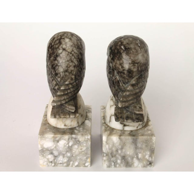 Image of Marble Owl Bookends - Pair