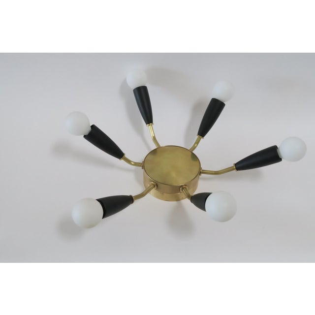 Image of Modern Brass & Black Flush Mount Light