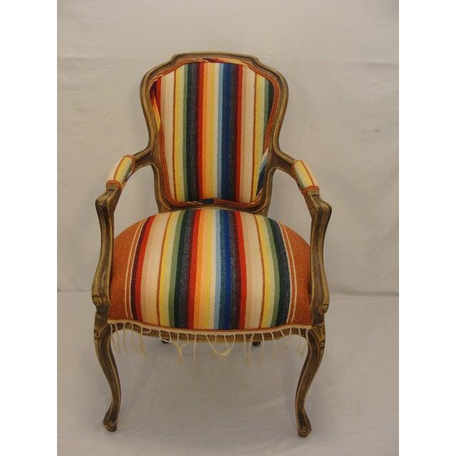 Bergere Chair Custom Upholstered in Serape - Image 2 of 8