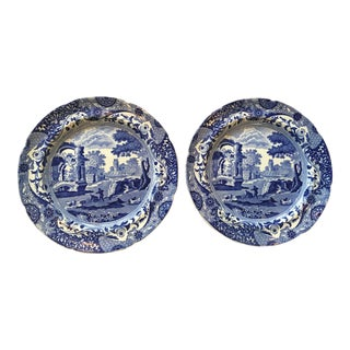 Antique Spode Italian Blue & White Transferware Plates - A Pair