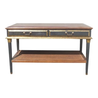 Hollywood Regency Black & Gold Crackle Finish Library Console Table