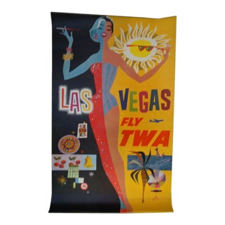 Vintage Original Las Vegas Fly TWA Poster