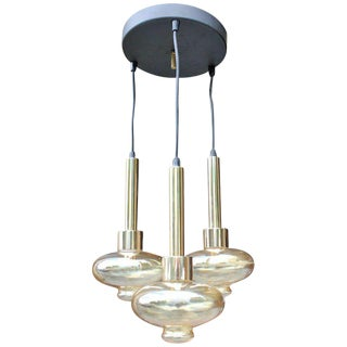 French Mid-Century Modern 3 Light Fixture